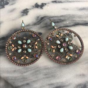 Sorrelli XL Pastel Rhinestone Circle Earrings